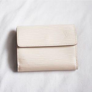 LV • Small Epi Leather White Wallet